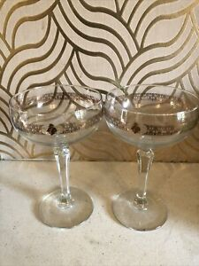Beautiful Pair Of Champagne Dishes With Rose Gold Design Around Bowl