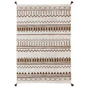 Moroccan Tribal Ethnic Design Printed BROWN Cream Cotton Durrie Flat weave Rugs
