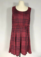 Torrid Red Plaid Belted Sleeveless Fit and Flare Knee Length Dress Women's 18