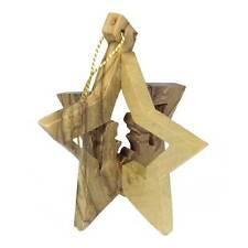 Christmas Hanging Star - Olive Wood - Handmade in Israel - Fair Trade