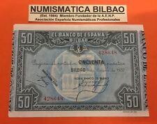 BILBAO 50 PESETAS 1937 BANCO DE BILBAO EBC Pick S.564 EUSKADI SPAIN XF EUZKADI