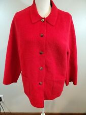 Lands End Size 18 Women's Jacket Red 100% Wool Pockets Coat Blazer