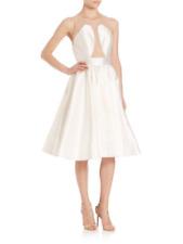 Jovani Sleeveless Illusion Cocktail Dress White Ivory Size 0 Evening Prom