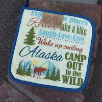 Alaska Theme Decorative Hot Pad souvenir! Multiple phrases with moose pot holder