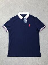 RALPH LAUREN Polo Men's Custom Slim Fit LARGE RL LOGO Navy Blue/Red/Wht NEW $98