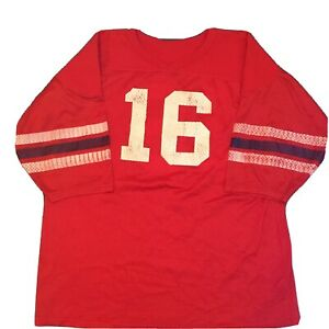 VINTAGE Football Mesh Jersey Red with White/Blue Stripes #16  Montana? Patriots?