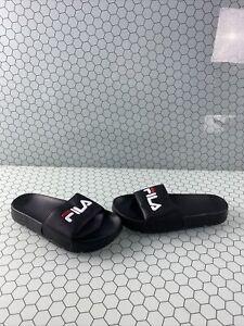 FILA Black Synthetic Leather Slide On Sandals Men's Size 6