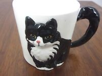 OTAGIRI CINDY SUGAWARA Hand-Painted Coffee Cup/Mug Black/White Cat Figural EUC