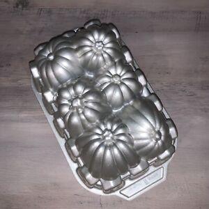 Nordic Ware Pumpkin Harvest Loaf Pan Gold Cast Aluminum 6 Cup
