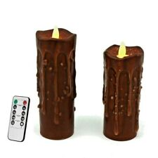 Real Wax Hand Pillar LED Flickering Flame Candles Lights Holiday Décor Set of 2