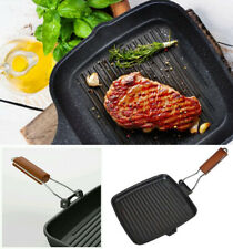 NEW 24CM NON STICK GRIDDLE GRILL STEAK PAN FOLDING HANDLE CAST ALUMINIUM KITCHEN
