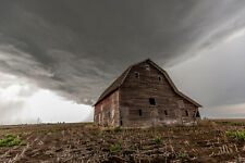Photography Print of Large Red Barn and Approaching Storm in Nebraska