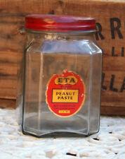 Vintage ETA Brand PEANUT PASTE JAR glass 2 1/2 lb net Australia red lid J57 jars
