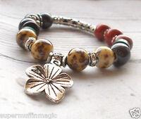 Beaded Bracelet Stretch Boho Tribal Flower Hippie Silver Tone Festival Ethnic