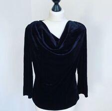 Ladies Vtg MSK Black Velvet Top Ruched L/Sleeves Spandex Quirky VGC UK 10-12