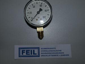 "Manometer 0-100 bar, Ø63mm, Anschluss unten G 1/4""  WIKA   -ohne Glyz.-"