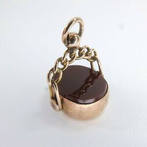 Antique 9ct Rose Gold Swivel Fob Carnelian Agate Pocket Watch Fob Chester 1907