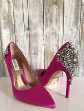 $265 Badgley Mischka Gorgeous Pink Fuschia Satin Crystal Embellished Pumps 7.5*
