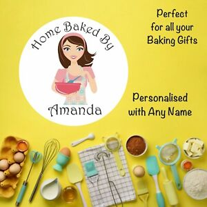 48 Personalised Baking Stickers Any Name, Bags, Gifts, Jars, Boxes