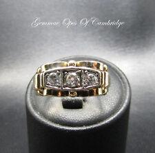 Vintage 14ct Gold Gold Scrollwork set Three Stone Diamond Ring Size Q 1/2  6.6g