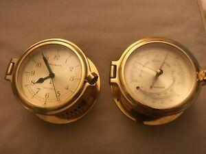 Vtg German Brass ships Barometer and ships bell clock Watrous  nautical