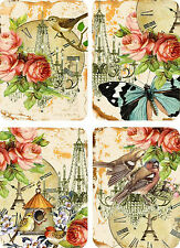 Vintage inspired birds roses butterfly small note cards tags ATC set of 8