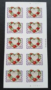 USA 1999 Victorian Love Heart Flowers 55c x10v Self Adhesive Stamps Mint NH