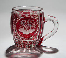 Antique Bohemian/German Ruby Flashed & Etched Glass Tankard c1880
