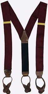 VTG J CREW Suspenders Colorblock Burgundy & Black Silk Leather Grosgrain Ribbon