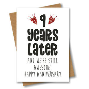 9th Anniversary Card - 9 Years Later Still Awesome - Him Her Wedding Ninth