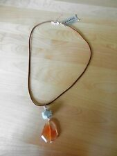 BARSE  Sterling Silver and Carnelian Leather Necklace MSRP $38
