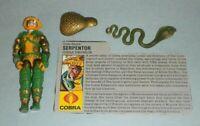 1986 GI Joe Cobra Emperor Serpentor v1 Figure w/ File Card w/ Some Accessories