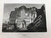 original 1802 antique print ! castle acre priory  norfolk .