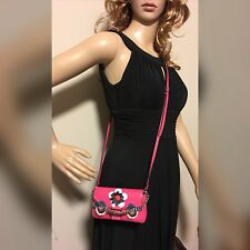 Auth FENDI Stone Fur Cross Body 2way Shoulder Bag Pink Leather Italy