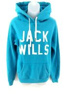 JACK WILLS Womens Hoodie Jumper 10 Blue Cotton & Polyester