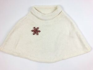 American Girl 7/8 Off White Sweater Shawl Red Beaded Snowflake Clip