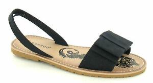 Ladies Black Faux Leather Bow Detail Slingback Sandals BNIB
