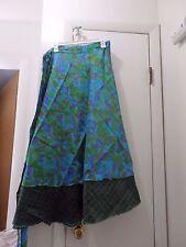 NEW Reversable Silk Sari Wrap Skirt India Boho Hippie Bohemian PLUS SZ US seller