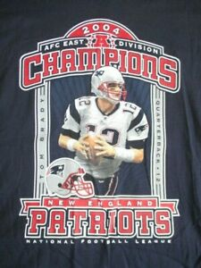 2004 TOM BRADY NEW ENGLAND PATRIOTS Conference Champions w/ Roster (XL) T-Shirt