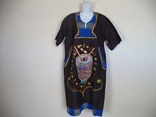 Women's Black Handmade Arts Paint Design African Traditional Dress. OSFA