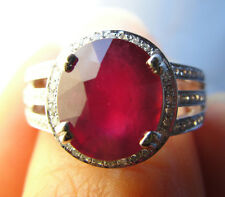 4.39 Ct Ruby with 0.52 Cts of Diamonds 14k Gold Ring  10mm