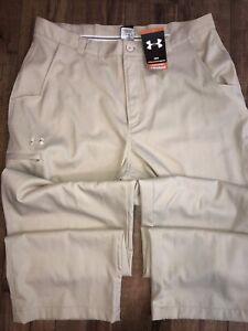 NEW Under Armour Men's 38x32 ALLSEASON Golf Pants Khaki 5 Pocket NEW NOS