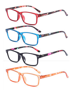 Mens Womens Spring Hinges Reading Glasses Classic Rectangle Readers +1.0~4.0 D50