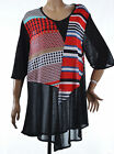 TOP tunique Femme grande taille 54 56 Noir Rouge Origami ZAZA2CATS new