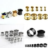 18pc 3-16MM Stainless Steel Double Flare Flesh Ear Tunnels Plugs Earlets Gauges