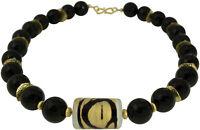 Kette Collier Onyx Schwarz Schmuck Necklace Muranoglas Gold Black