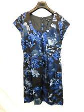 Banana Republic 10 Mad Men Black Blue Begonia Dress Floral Sheath Short Sleeve M