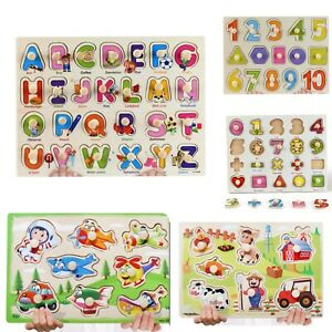 Wooden Puzzle Baby Kids Toddler Jigsaw Alphabet Letters Animal Learning Toy Gift