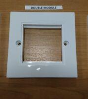1pc x 1G (2 TWO MODULE) PRESSAC UK MADE FACEPLATE WHITE SCREW EURO 25x50 Double