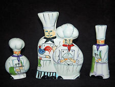 WONDERFUL DENNIS EAST SALT & PEPPER SHAKERS/NAPKIN - THE CHEFS - TALL AND SHORT